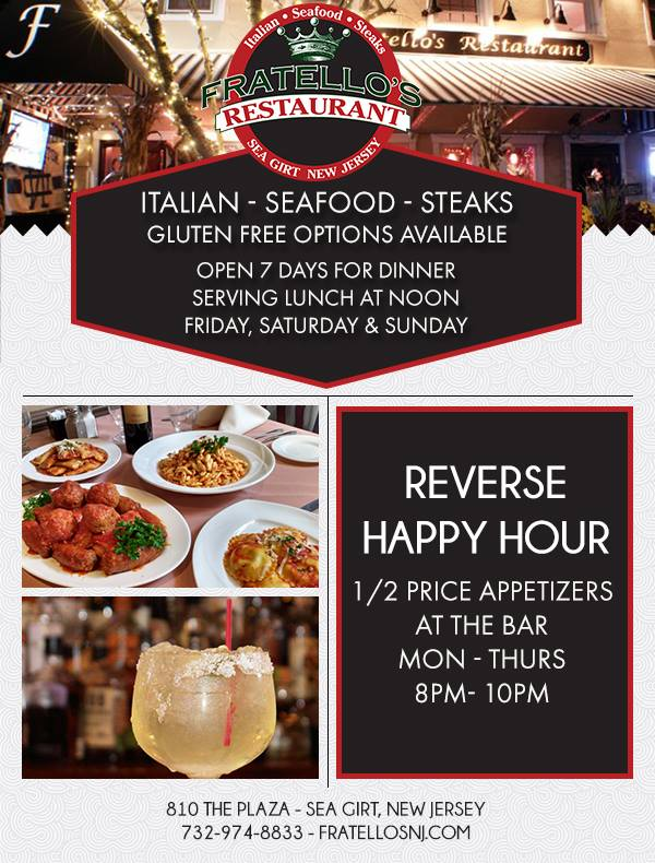 Reserve Happy Hours at Fratello's
