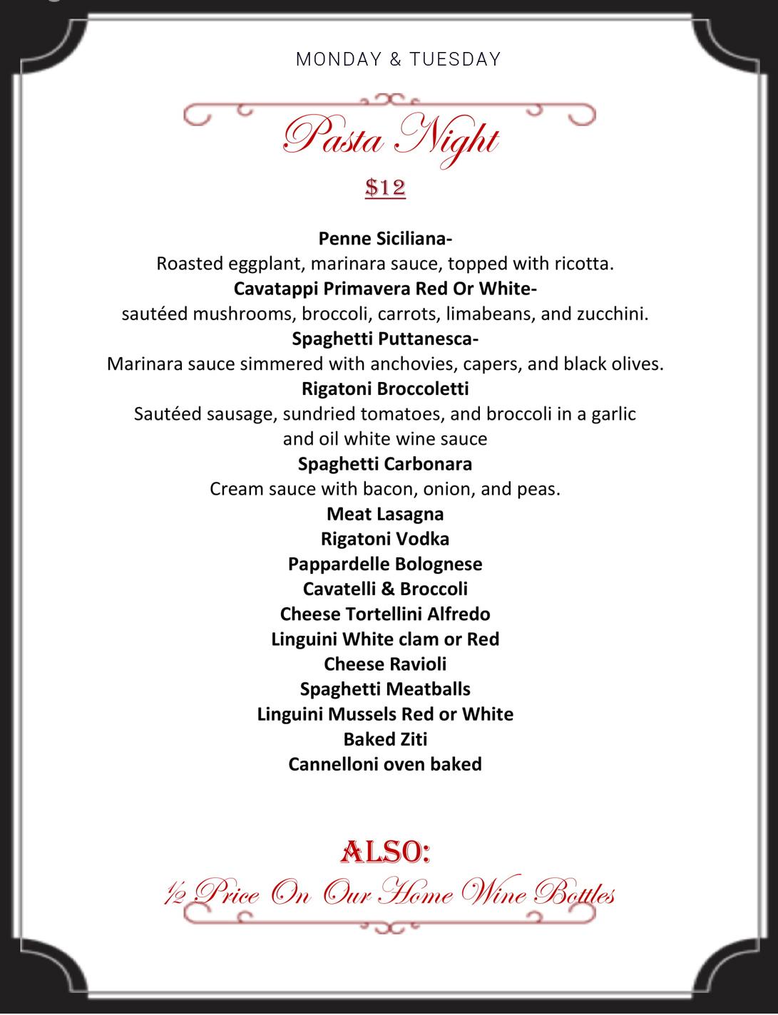 pasta night menu at Ciro's Ristorante NJ