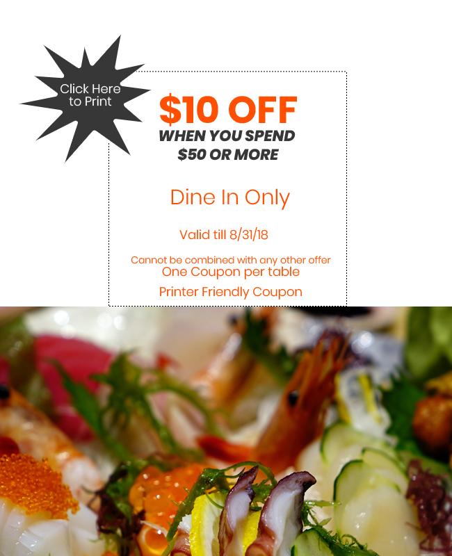 Save $10 off on $50 coupon Otaiko Hibachi Sushi