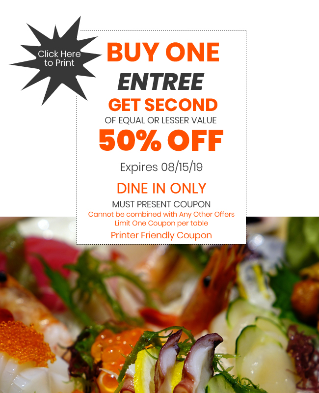 50% Off Your Entrée with Printable Coupon! Otaiko Hibachi Sushi