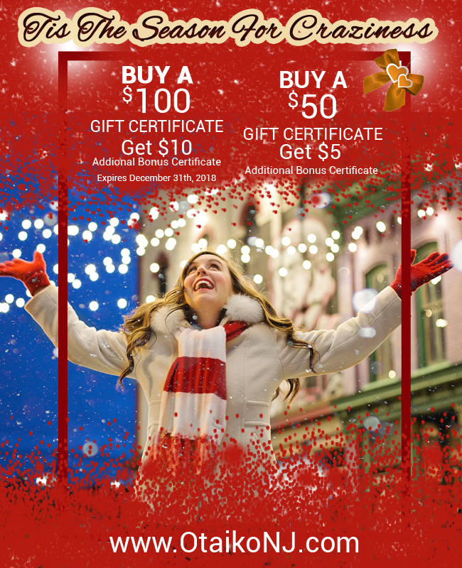 Gift Cards Holidays Otaiko Hibachi NJ