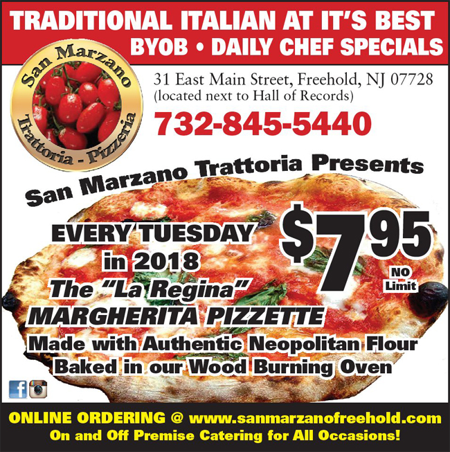 Tuesday Pizza Specials at San Marzano Freehold NJ